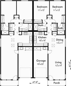 Main Floor Plan for D-529 Duplex house plans, one level duplex house plans…
