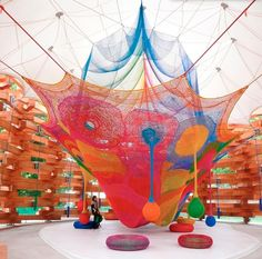 The Rainbow Nest in Woods of Net, knitted by Toshiko Horiuchi MacAdam, a part of Hakone Open-Air Museum, Hakone, Japan