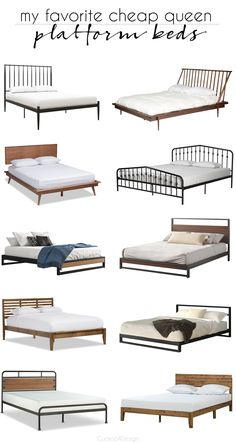 This is a roundup of my favorite cheap queen platform beds for our son's teen bedroom refresh. He outgrew his old bed and needed a new stylish masculine bed Serene Bedroom, Linen Bedroom, Bedroom Furniture, Diy Platform Bed, Queen Platform Bed, Cozy Home Decorating, Casual Bedroom, Luxury Bedroom Design, Bedroom Designs