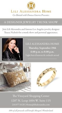 This past Christmas I had the pleasure of meeting Tracee Nichols and am so excited that she's returning to San Antonio! Join me at a fabulous Tracee Nichols trunk show at Lili Alessandra this Thursday, September 29 from 6-8pm benefiting Morgan's Wonderland. Not only are Tracee's designs absolutely fabulous but she is positively lovely! One …