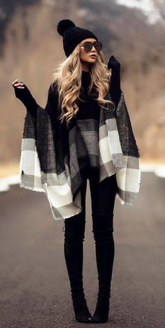#fall #outfits women's black, gray, and white poncho, black fitted jeans, and pair of black leather knee-high boots outfit