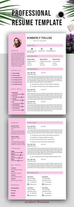 Professional Resume Template Instant Download  Page Resume