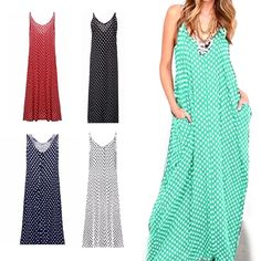 Women Polka Dots V Neck Sleeveless Loose Maxi Long Beach Dress Plus Size  Popular 79e4d3feed60