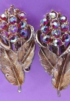 Vintage 60s red rhinestone AB flower clip on rose earring