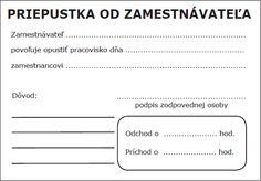 Priepustka od zamestnávateľa | Účtovné tlačivá | ipdf.sk Ios