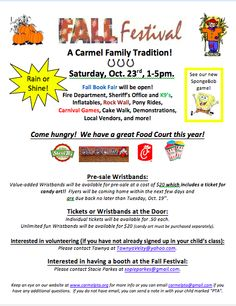 Get the word out about your PTO or PTA Fall Carnival/Festival!