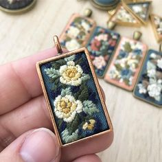 Embroidery Jewelry, Hand Embroidery Patterns, Beaded Embroidery, Cross Stitch Embroidery, Embroidery Designs, Fabric Manipulation, Handmade Jewelry, Handmade Gifts, Hobbies And Crafts