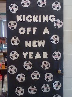 Soccer themed door for the beginning for the school year