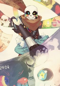 "Ink!Sans by VeritasU << THE SCARF NOTES OMG ""Dog"" ""Where is Error?"" ""Buy pencils"" ""DO NOT lose more pencils"" I'm crying"