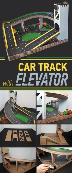 Toy Car Play Mat with Lift and Parking - DIY Crafts and Projects - Spielzeug Cardboard Car, Cardboard Crafts, Cardboard Castle, Toddler Play Table, Baby Play, Diy Toys Car, Toy Diy, Diy Pour Enfants, Car Play Mats