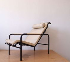 Gabriele Mucchi; Lacquered Steel and Leather 'Genni' Lounge Chair for Zanotta, 1980s.