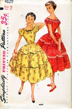 Simplicity 4629 ©1954 Misses or Teenage Hispanic Style DressSize 16 = Bust 34IN ORIGINAL FOLD - MINT.Bodice has a low rounded neckline, short puffed sleeves, gathered neck edge and elastic casing at lower sleeve edges. Skirt is gathered and cut in three tiers. Velvet ribbon and bows trim View 1 skirt seams and neckline. Self or purchased belt is worn. View 2 has rick-rack trim at neckline and skirt seams. Upper edge of sleeve is gathered with elastic. A self fabric sash is worn.I ONLY sell…