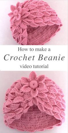 This video tutorial covers how to crochet beanie hat with Leaf stitch. Crochet this beanie with a braid of leaves and a woven flower is breathtaking. Crochet Turban, Bonnet Crochet, Crochet Beanie Hat, Crochet Baby Hats, Crochet Gifts, Crochet Clothes, Free Crochet, Crochet Dolls, Beanie Hats