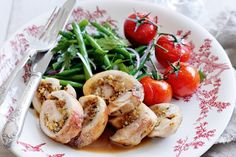 2011 Masterchef champion Kate Bracks finds inspiration in her own backyard for this succulent chicken recipe. (Recipe by Kate Bracks; Meat Recipes, Chicken Recipes, Cooking Recipes, Healthy Recipes, Lemon Green Beans, How To Cook Beans, Group Meals, Main Meals, Stuffed Chicken