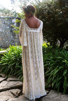 Handmade Lace ANGEL SLEEVE CAFTAN Maxi Dress. by Dreamersandlovers
