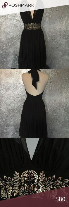 Maggy London Dress Beautiful black halter top (build in bra)dress with flouncy hemline. Gold crewel embroidery and sequin design at the waist is just so elegant as it has red gemstones that sparkle subtly. Dress zips in the back plz see pix for material info. #specialoccassion, #formaldress, #formaldress2017 Maggy London Dresses Midi