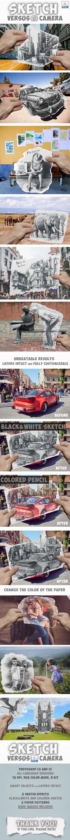 Pencil Sketch vs Camera Photo Effect Photoshop Action — Layered PSD #ben heine style #torn paper photoshop • Available here → https://graphicriver.net/item/pencil-sketch-vs-camera-photo-effect-photoshop-action/18266870?ref=pxcr
