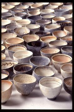 Porcelain wood fired bowls by Priscilla Mouritzen