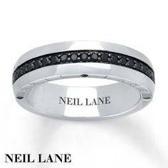 Neil Lane Men's Ring 3/8 ct tw Black Diamonds 14K Gold, 6.1mm