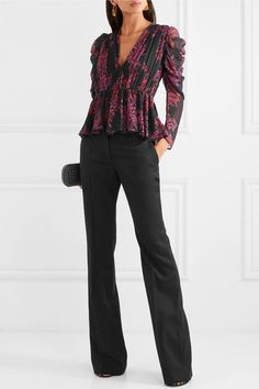 Multicolored silk-georgette Concealed zip fastening along side silk Dry clean Made in Italy 2 Piece Outfits, New Outfits, Casual Outfits, Gown Suit, Dressy Pants, Peplum Blouse, Giambattista Valli, Jacket Dress, Black Print