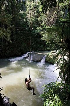 YS Falls in St. Elizabeth, Jamaica! I've jumped off that rope!