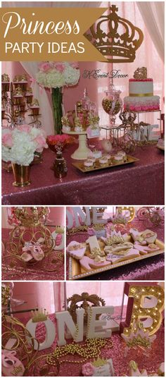 Love this pink and gold princess party for a first birthday! See more party planning ideas at CatchMyParty.com!