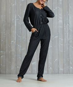 b733f3f8122b Look what I found on  zulily! Black Button-Front Knit Jumpsuit - Plus