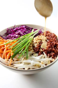 Thai Style Buddha Bowl with Peanut Sauce - this healthy recipe with red rice is gluten free, vegan and clean eating.