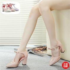 1a370ccb24 Barato 2014 das mulheres apontou toe sapatos de salto alto grosso arco  princesa sandálias entalhe fêmea
