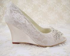 Oh wedges will be sooo comfortable ! This pretty canvas :P  Wedding Shoes, Peeptoe Bridal  Shoes, Rhinestone Wedge Shoes, Bridesmaid Shoes, Champagne Floral Pattern Lace Shoes, Ivory Lace Wedge Shoes