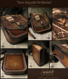 """""""Thorin: King under the Mountain"""" A unique leather big size purse  Pyrography, tooling and painting. Adjustable strap. Size: 32 cm x 30 cm x 10 cm   for orders please contact me at morgenland@gmail.com"""