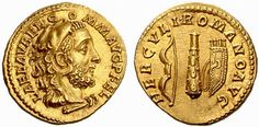 A rare coin of the megalomaniac Commodus, the 18th Emperor of Rome Gold Aureus of Commodus (161-192 AD), struck c. August- December 192 AD Inscribed on the obverse is AEL AVREL COMM AVG P FEL around the head of Commodus portrayed as Hercules wearing the Nemean lion skin headdress. On the reverse is inscribed HERCVLI ROMANO AVG ('to the August Roman Hercules') around Hercules' club flanked by his bow and quiver. This coin supports literary references to Commodus' megalomaniac obs...