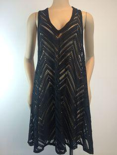 Robin Piccone Black Crochet Tank Dress Cover Up L