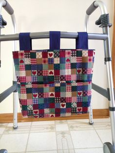 Stylish Wheelchair Scooter Powerchair Bag .. 3 Top Closure Options . Functional Tapestry Walker Bag Secure Lots of Pockets ..