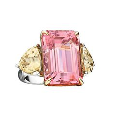 Rare Pink Tourmaline Zircon Gold Ring. From Hamilton's Rare Gemstone Collection, handmade ring set in 18k white and yellow gold with emerald cut pink tourmaline and yellow zircons. Tourmalines are gems with an incomparable variety of colours. The reason, according to an old Egyptian legend, is that the tourmaline, on its long journey up from the centre of the Earth, passed over a rainbow. In doing so, it assumed all the colours of the rainbow... 2014