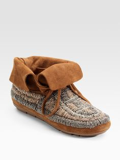 House of Harlow 1960 - Beaded Moccasin Ankle Boots