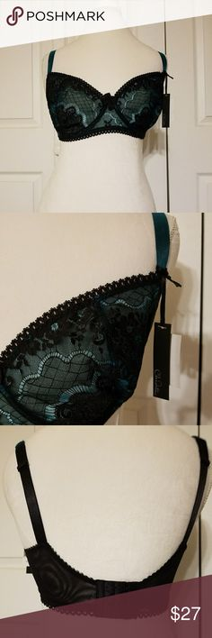 Claudette Turquoise and Black Lace Bra Gorgeous sexy turquoise bra with black lace overlay. Underwire and 3 hook closure on the back. 34F. Nwt. Claudette Intimates & Sleepwear Bras