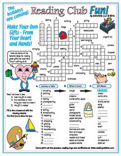 Learn about even more great ideas for making your own gifts for family and friends this holiday season with this Crossword Puzzle!