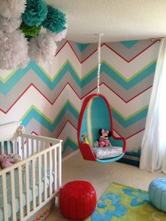 Chevron walls AND a swing? What more could little sunshine ask for?