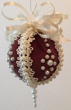 Burgundy and pearls  vintage look sequin & velvet Christmas balls.
