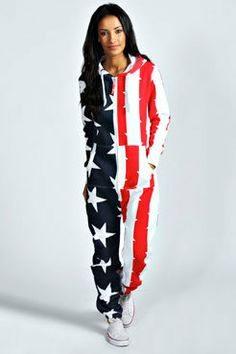 donnamurley's save of Una USA Flag Hooded Onesuit on Wanelo