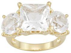 Stratify(Tm) 6.88ctw Square And Round Crystal Quartz 18k Yg Over Sterling 3-stone Ring Erv $93.00