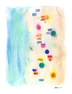 Blurred Beach Watercolor Illustration Print by KaraEndres on Etsy
