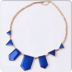 Statement Necklace NWT. Gorgeous Blue Geometric Statement Necklace. Jewelry Necklaces