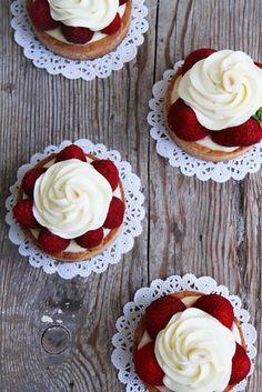 Lemon Tart with White Chocolate Cream and Strawberries