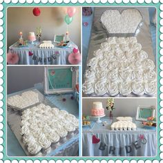 Bridal shower cake!  Cupcake pull apart wedding dress!