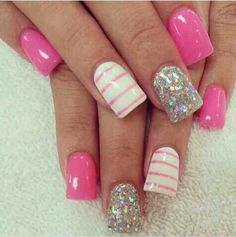 Pink,White,and Silver Nails