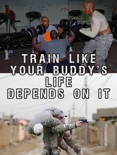 """US Military fitness motivation poster featuring Army soldiers working out as a team.  """"Train Like Your Buddy's Life Depends On It"""""""