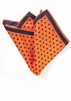 Herren-Einstecktuch große Punkte orange dunkelblau