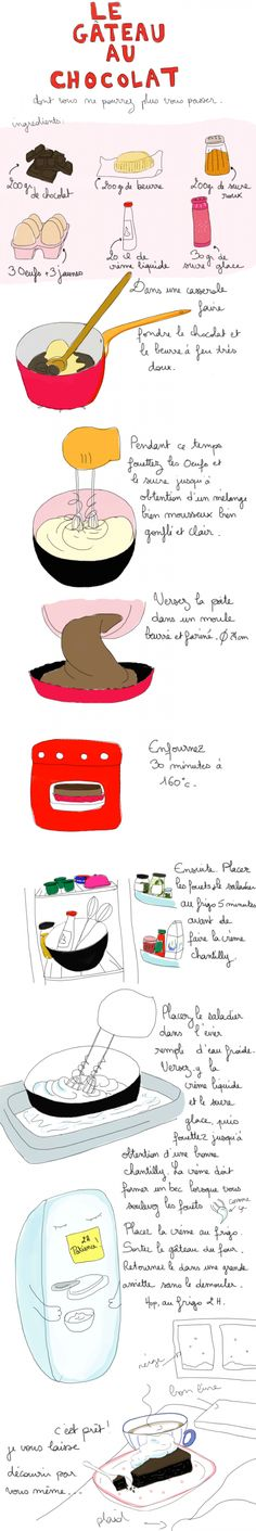 Chocolate cake recipe in French. Cook in kitchen lab. Each group brings in ingredients. Cooking Time, Cooking Recipes, Delicious Desserts, Yummy Food, Bolo Cake, Fast Food, French Food, Food Illustrations, No Cook Meals